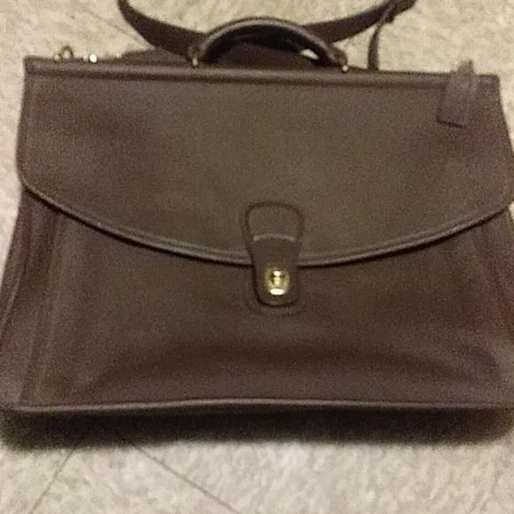 158d0477 Vintage large rustic brown briefcase, computer bag